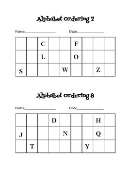 Alphabet Ordering Chart/Check In Slip/Exit Ticket
