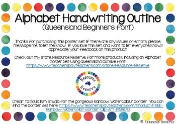 Alphabet Handwriting Outline Posters - Queensland Beginners font (Rainbow border