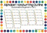 Alphabet Handwriting Outline Posters - Queensland Beginners font (Rainbow border