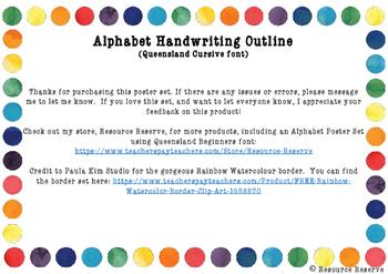 Alphabet Outline Posters - Queensland Cursive font (Rainbow border)