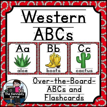 Alphabet Picture Cards & Flashcards {Western / Cowboy}