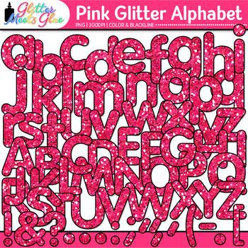 Pink Glitter Alphabet Clip Art {Great for Classroom Decor & Resources}