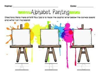 Alphabet Painting Capital Letter Recognition & Writing Worksheet A-Z