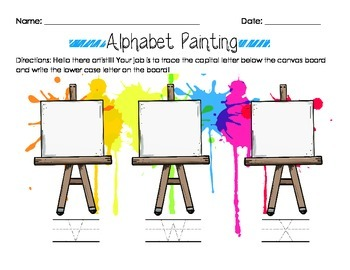 Alphabet Painting Letter Recognition & Writing Worksheet Capital to Lower Case