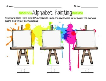 Alphabet Painting- Lower Case Letter Recognition & Writing Worksheet