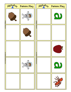 Alphabet Patterning Play Game ~ Literacy / Reading Center for Letter A