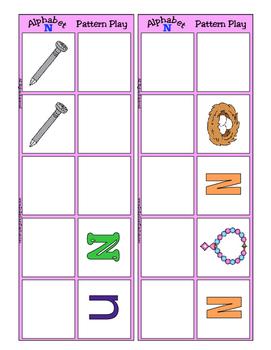 Alphabet Patterning Play Game ~ Literacy / Reading Center for Letter N