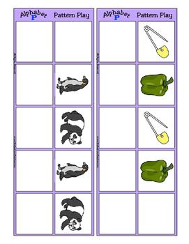 Alphabet Patterning Play Game ~ Literacy / Reading Center for Letter P