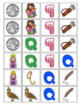 Alphabet Patterning Play Game ~ Literacy / Reading Center for Letter Q