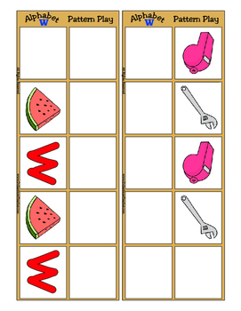 Alphabet Patterning Play Game ~ Literacy / Reading Center for Letter W
