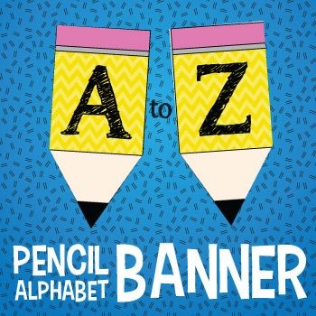 Alphabet and Number Pencil Banner with Yellow Chevron