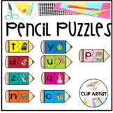 Alphabet Pencil Puzzles Clip Art