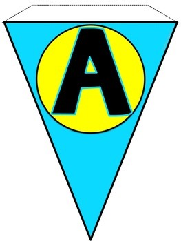 Alphabet Banner in Aqua and Yellow