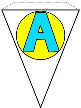 Alphabet Banner in Aqua and Yellow