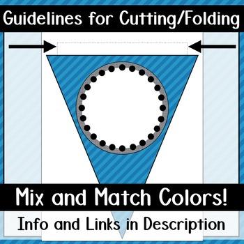 Alphabet Pennant Banner- Blue Diagonals