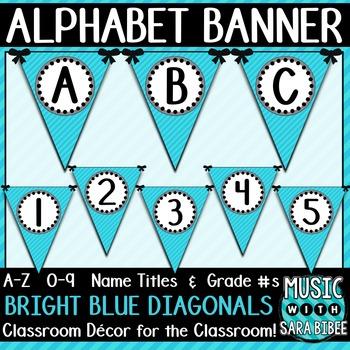 Alphabet Pennant Banner- Bright Blue Diagonals