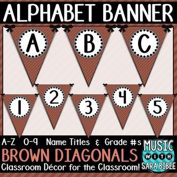 Alphabet Pennant Banner- Brown Diagonals