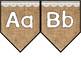 Alphabet Pennant Banner Burlap & White Lace White Letters *Bonus Pineapple*