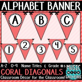 Alphabet Pennant Banner- Coral Diagonals