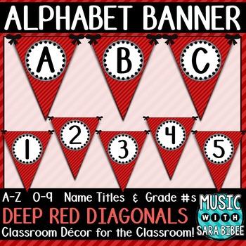 Alphabet Pennant Banner- Deep Red Diagonals