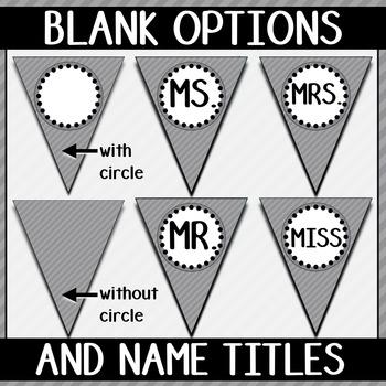 Alphabet Pennant Banner- Gray Diagonals