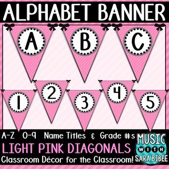 Alphabet Pennant Banner- Light Pink Diagonals
