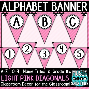 Alphabet Pennant Banner- Light Pink Diagonals