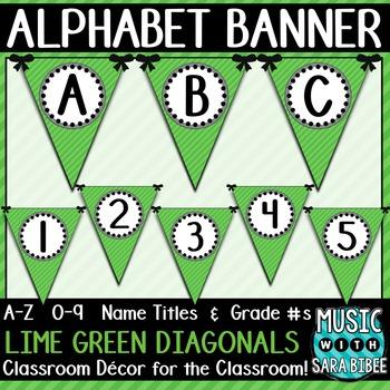 Alphabet Pennant Banner- Lime Green Diagonals
