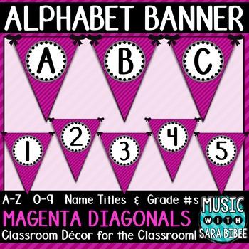 Alphabet Pennant Banner- Magenta Diagonals