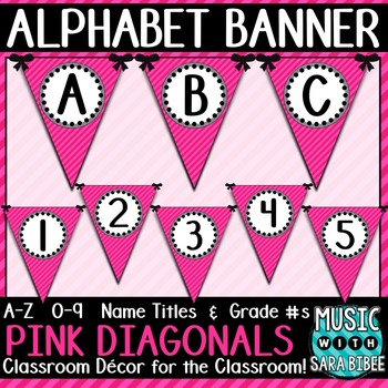 Alphabet Pennant Banner- Pink Diagonals