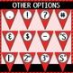 Alphabet Pennant Banner- Red Diagonals