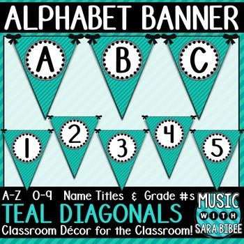 Alphabet Pennant Banner- Teal Diagonals