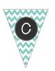 Alphabet Pennant-Teal Chevron