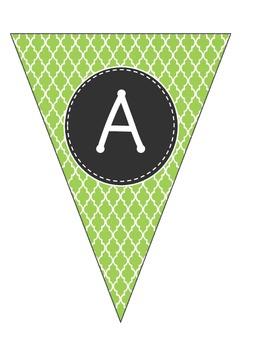 Alphabet Pennants-Green Moroccan
