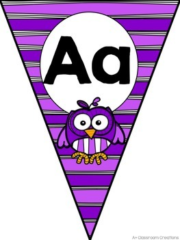 Alphabet Pennants:  Owls and Stripes
