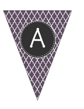 Alphabet Pennants-Purple Moroccan