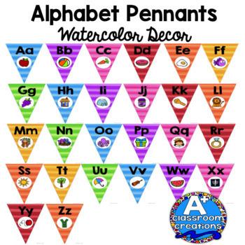 Alphabet Pennants Watercolor Decor