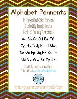 Alphabet Pennants in Brown Multi-Colored (Rainbow) Chevron