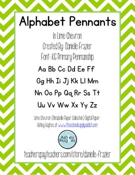 Alphabet Pennants in Lime Chevron