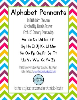 Alphabet Pennants in Multi-Colored (Rainbow) Chevron