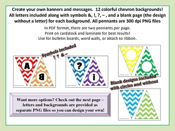 Alphabet Pennants in Rainbow Chevron