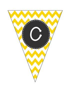 Alphabet PennantsYellow Chevron