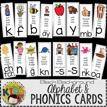 Alphabet & Phonics Cards (BLACK BACKGROUND)