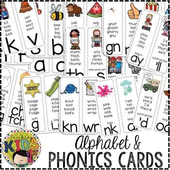 Alphabet & Phonics Cards (WHITE BACKGROUND)