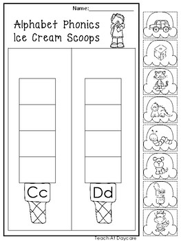 Alphabet Phonics Ice Cream Scoops Worksheets. Preschool-KDG Phonics and Literacy