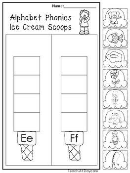 Alphabet Phonics Ice Cream Scoops Worksheets. Preschool ...