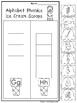 Alphabet Phonics Ice Cream Scoops Worksheets. Preschool-KD