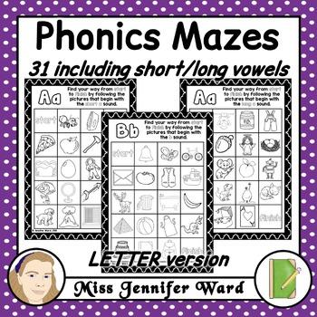 Alphabet Phonics Mazes LETTER Version