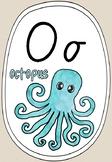 Alphabet Phonics Posters - Natural with Watercolour (Modern Cursive Font)