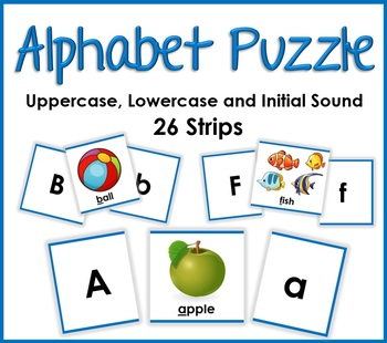 Alphabet Phonics Puzzle - Matching Uppercase, Lowercase and Initial Sounds